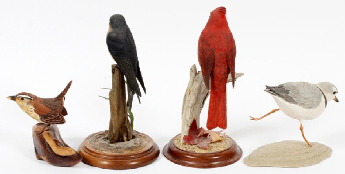 CARVED WOOD BIRD SCULPTURES 4 PIECES - 2