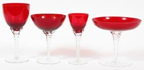 RUBY & CLEAR CRYSTAL STEMWARE 25 PCS