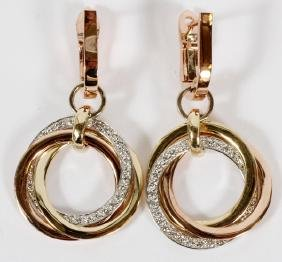 .5CT DIAMOND AND 14KT GOLD DANGLE EARRINGS PAIR
