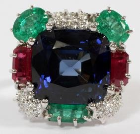 14CT LAB SAPPHIRE RUBY EMERALD AND DIAMOND RING