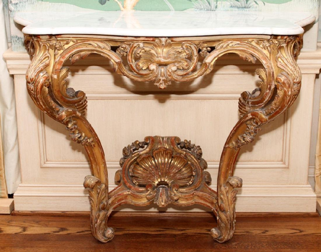 ROCOCO STYLE CARVED WOOD AND MARBLE TOP CONSOLE