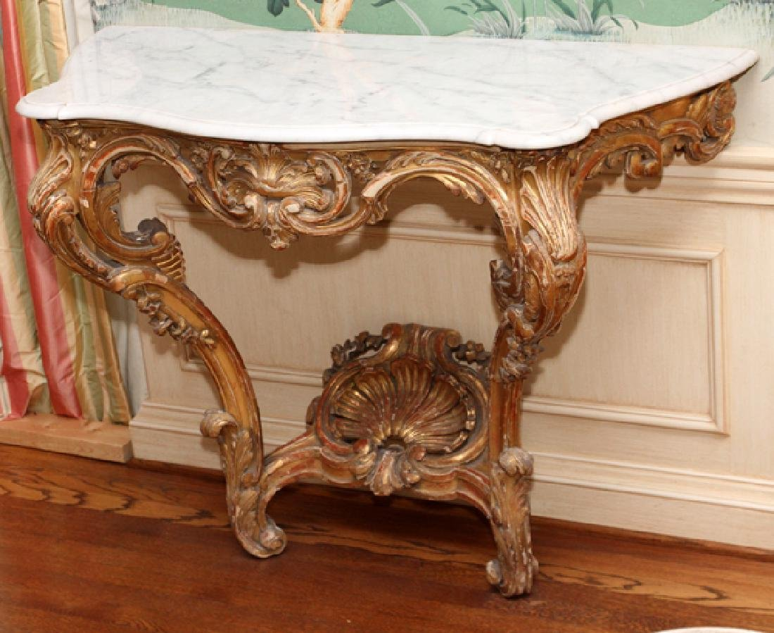 ROCOCO STYLE CARVED WOOD AND MARBLE TOP CONSOLE - 2