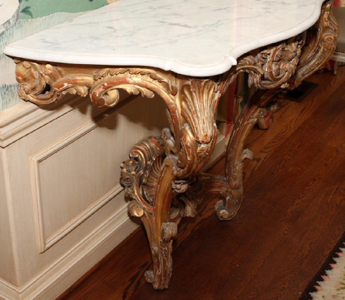 ROCOCO STYLE CARVED WOOD AND MARBLE TOP CONSOLE - 3