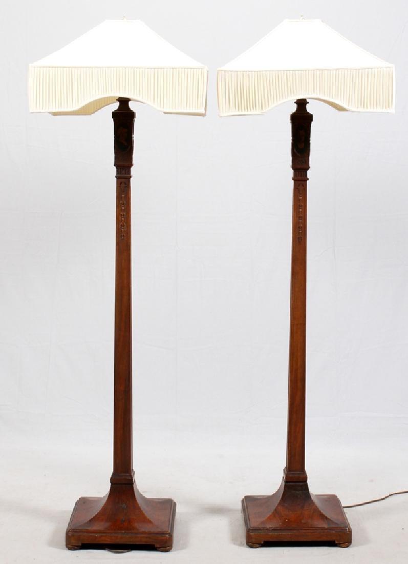SHERATON STYLE WALNUT FLOOR LAMPS PAIR