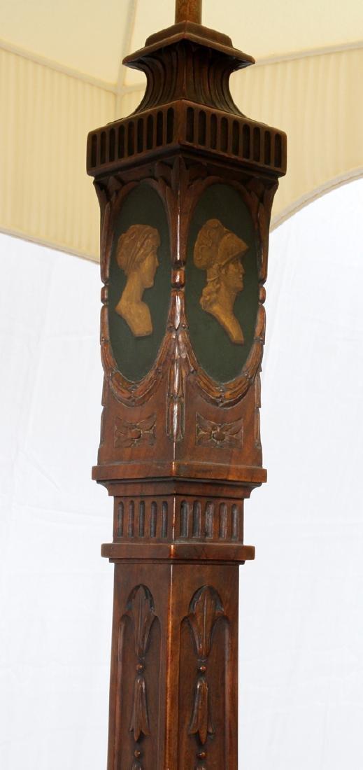SHERATON STYLE WALNUT FLOOR LAMPS PAIR - 3