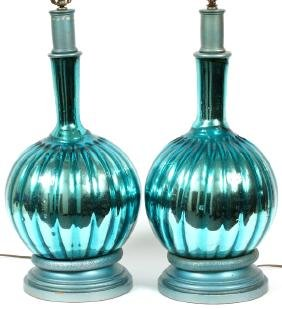 MEXICAN TURQUOISE GLASS LAMPS C.1960 PAIR