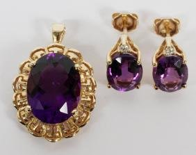AMETHYST PENDANT AND EARRINGS 14KT GOLD