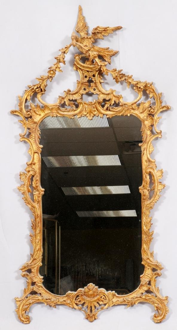 CHINESE CHIPPENDALE-STYLE GILT CARVED WOOD MIRROR