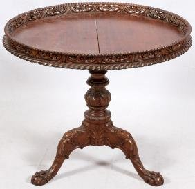 CHIPPENDALE-STYLE CARVED MAHOGANY PARLOR TABLE