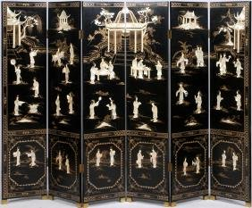 CHINESE LACQUERED AND MOTHER-OF-PEARL SCREEN