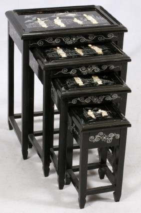 CHINESE LACQUERED AND PAINTED NESTING TABLES