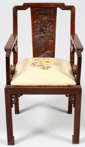 CHINESE HAND CARVED TEAKWOOD ARMCHAIR