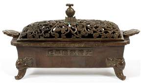 CHINESE RETICULATED PIERCED LID BRONZE CENSER
