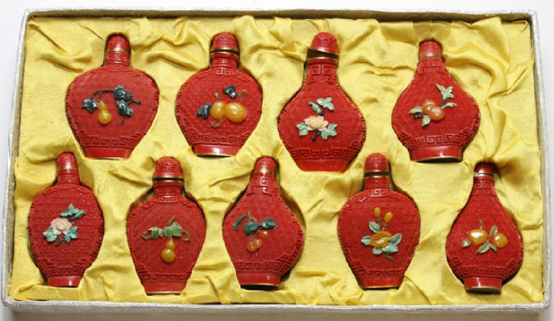 CHINESE CINNABAR AND JADE SNUFF BOTTLES NINE