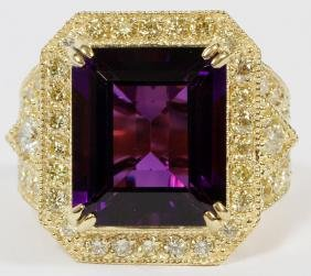 9.39CT AMETHYST AND DIAMOND RING