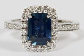 1.6CT NATURAL SAPPHIRE AND DIAMOND RING