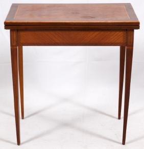 MAHOGANY MARQUETRY INLAY FLIP-TOP GAMING TABLE