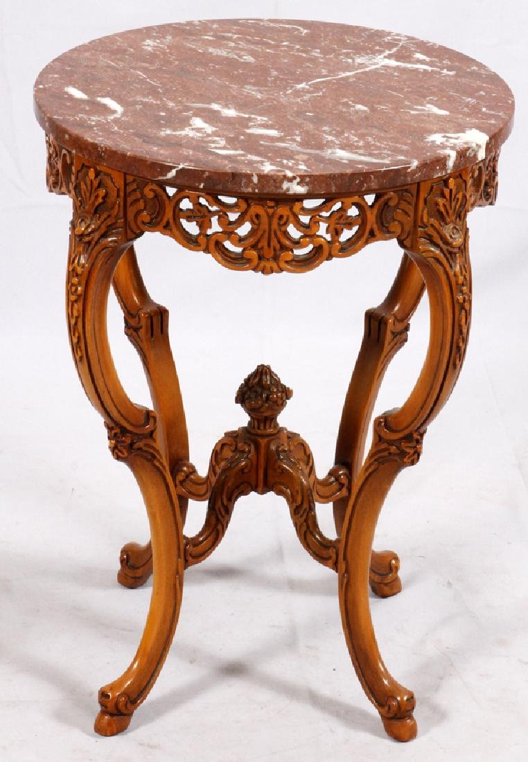 CONTINENTAL-STYLE MARBLE TOP WALNUT SIDE TABLE