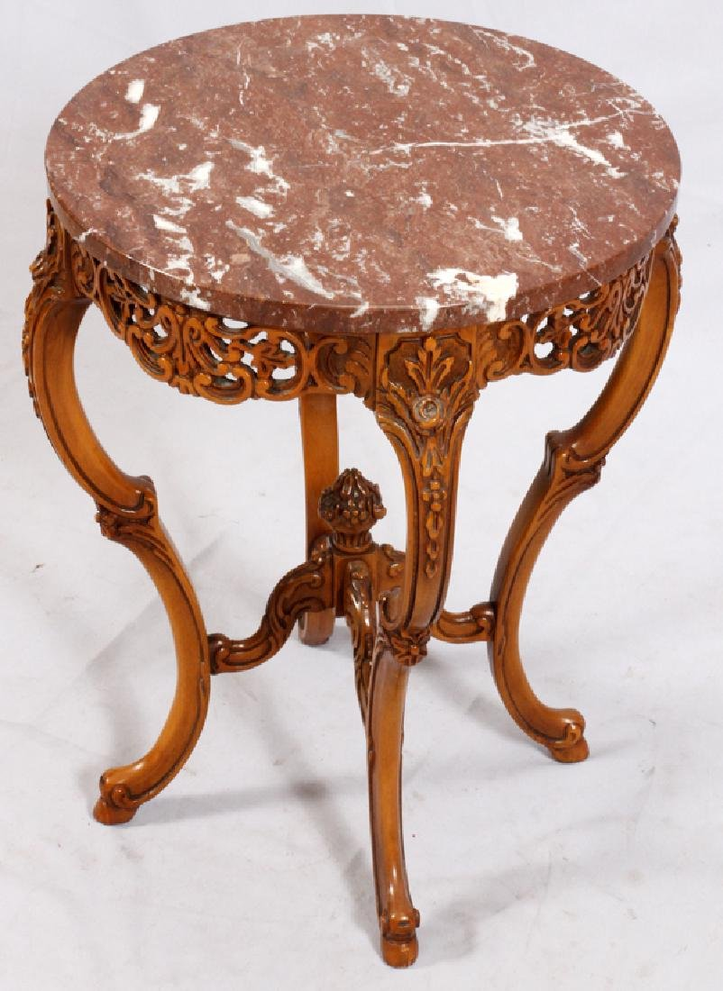 CONTINENTAL-STYLE MARBLE TOP WALNUT SIDE TABLE - 2
