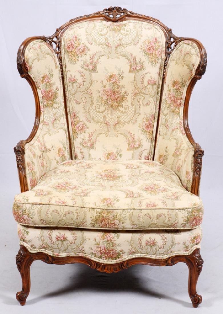 CONTINENTAL-STYLE CARVED WALNUT WINGBACK ARMCHAIR