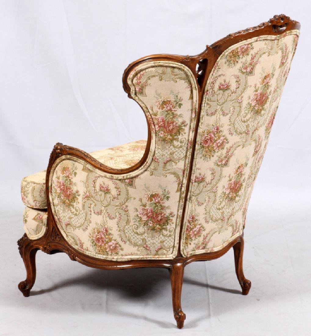CONTINENTAL-STYLE CARVED WALNUT WINGBACK ARMCHAIR - 2