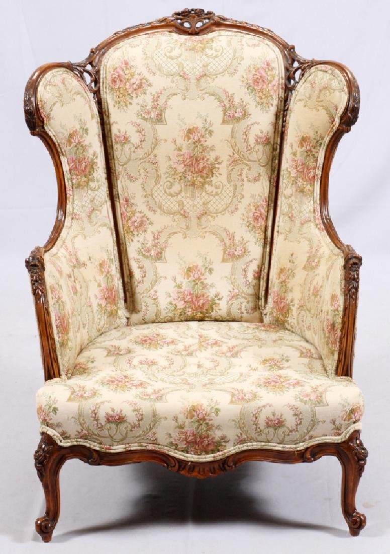 CONTINENTAL-STYLE CARVED WALNUT WINGBACK ARMCHAIR - 3
