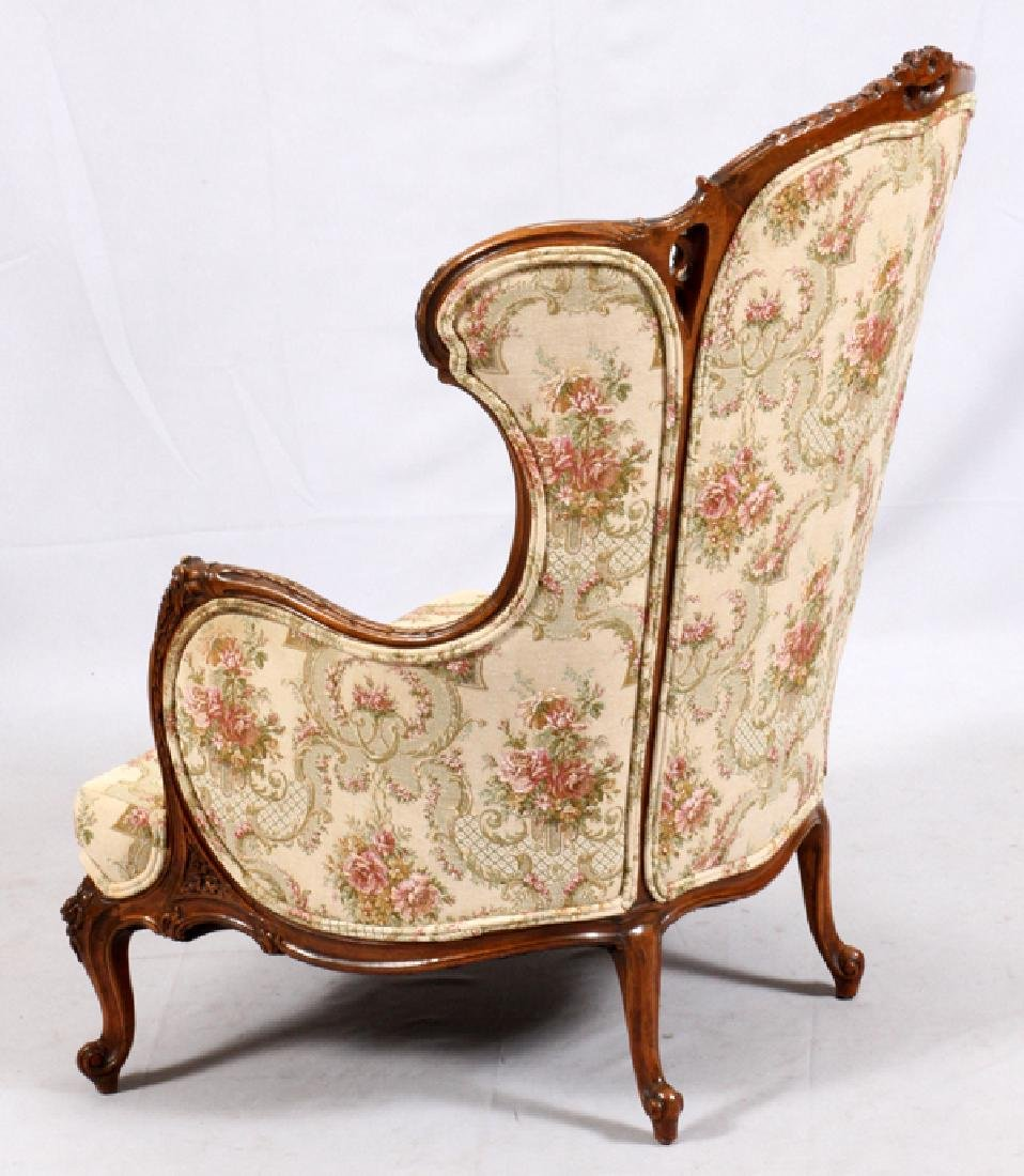 CONTINENTAL-STYLE CARVED WALNUT WINGBACK ARMCHAIR - 4