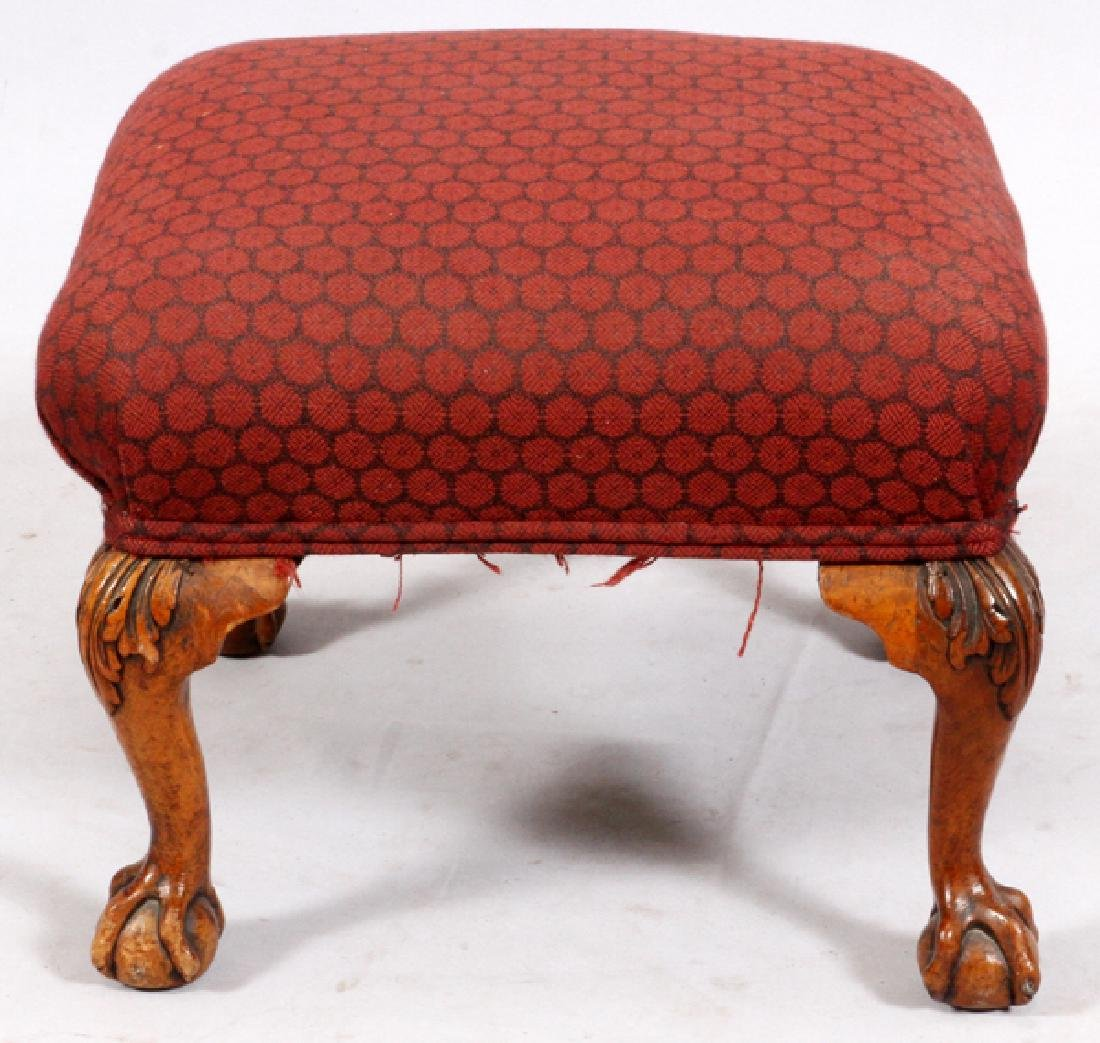 CHIPPENDALE-STYLE CARVED WALNUT FOOT STOOL