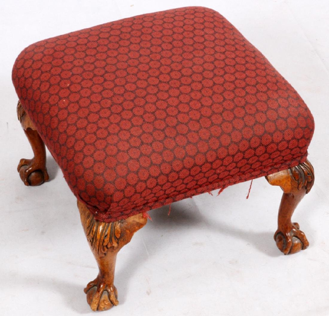 CHIPPENDALE-STYLE CARVED WALNUT FOOT STOOL - 2