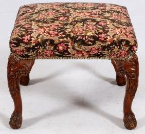 CHIPPENDALE-STYLE UPHOLSTERED & MAHOGANY FOOTSTOOL
