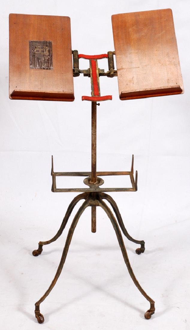 L.W. NOYES ADJUSTABLE IRON AND OAK BOOK STAND