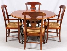 MAHOGANY TABLE W/ IRON BASE AND 4 DINING CHAIRS