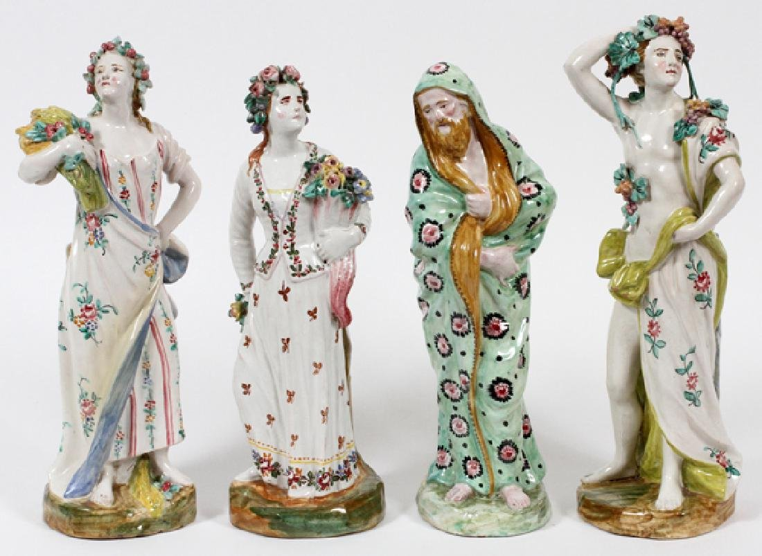 ITALIAN PORCELAIN FIGURAL SPILL VASES 4 PIECES