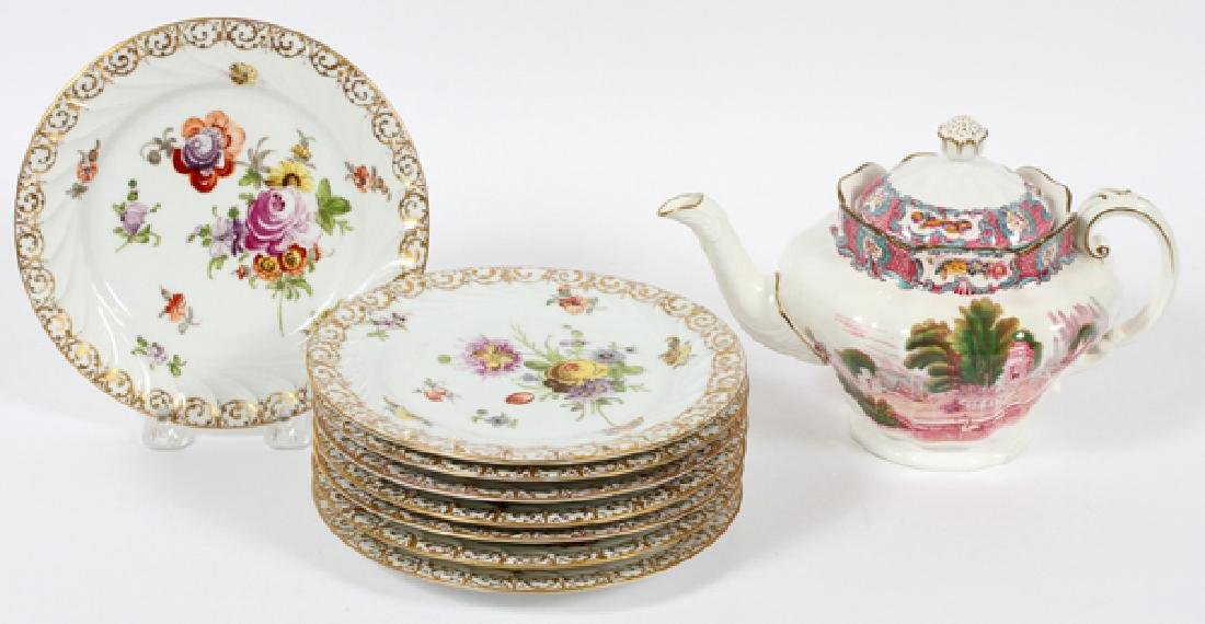 DRESDEN AND SPODE PORCELAIN PLATES AND TEAPOT