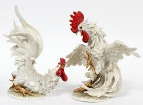 GOEBEL POTTERY ROOSTERS PAIR
