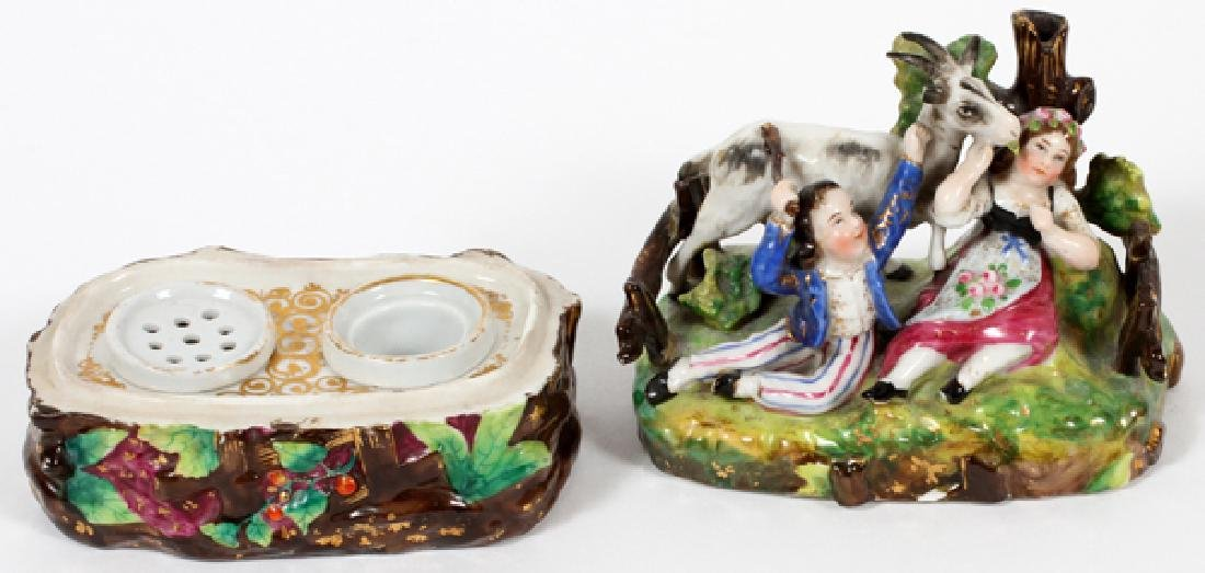 PORCELAIN INKWELL AND TRINKET BOX 19TH C. - 3