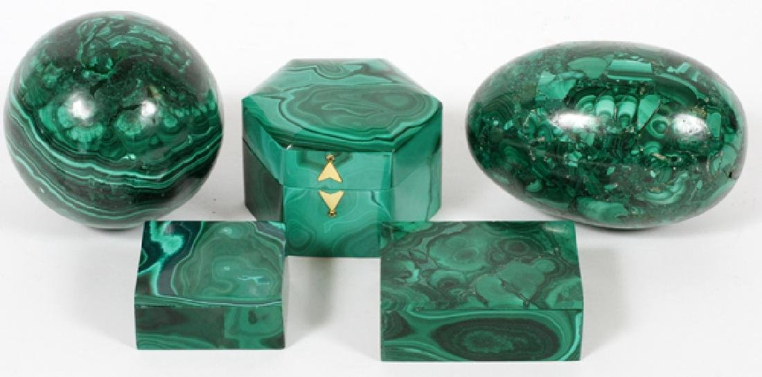 MALACHITE BOXES AND PAPERWEIGHTS 5 PIECES