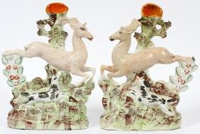 STAFFORDSHIRE SPILL VASES 19TH.C. PAIR