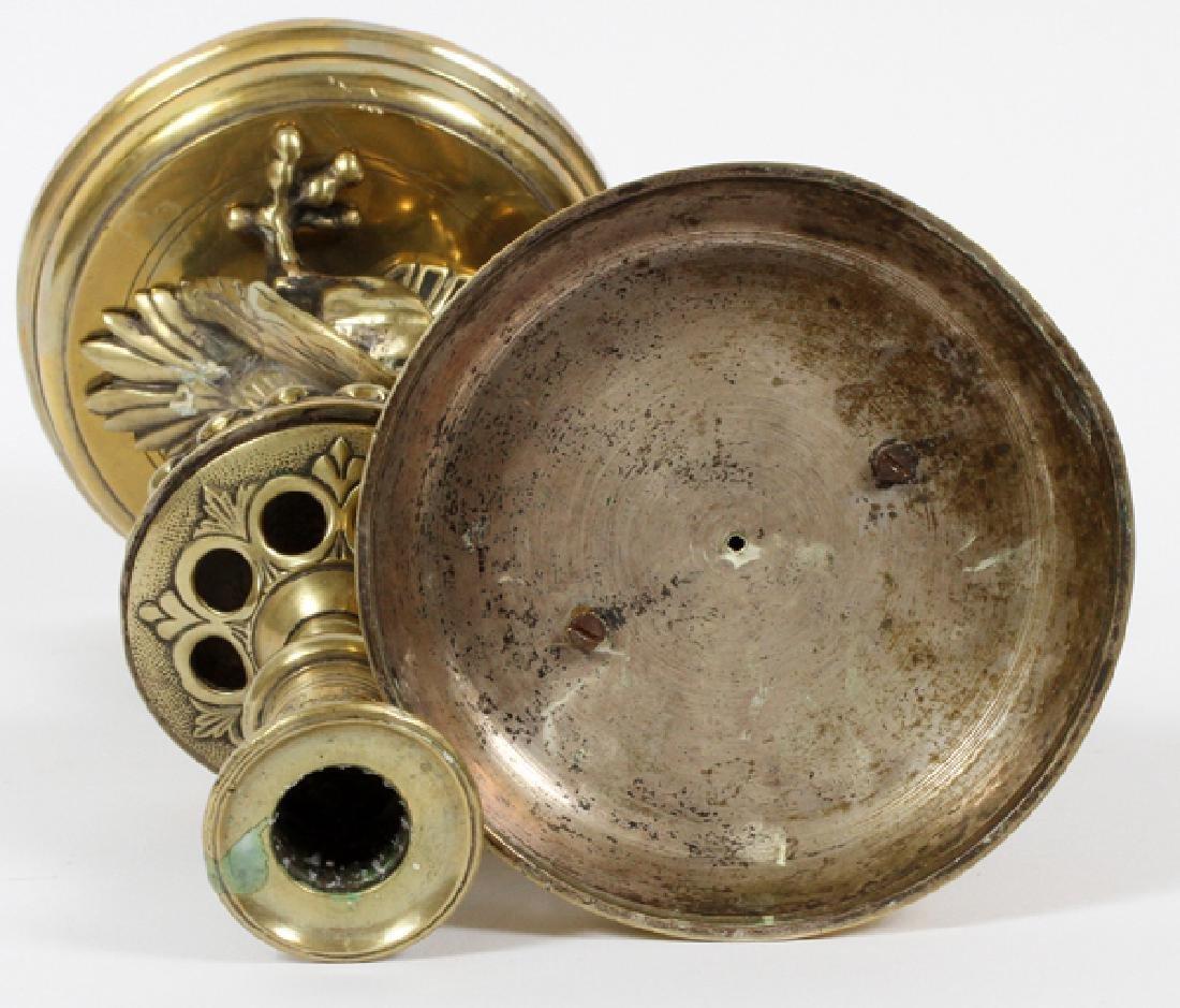 BRASS GRIFFIN CANDLESTICKS 19TH.C. PAIR - 3