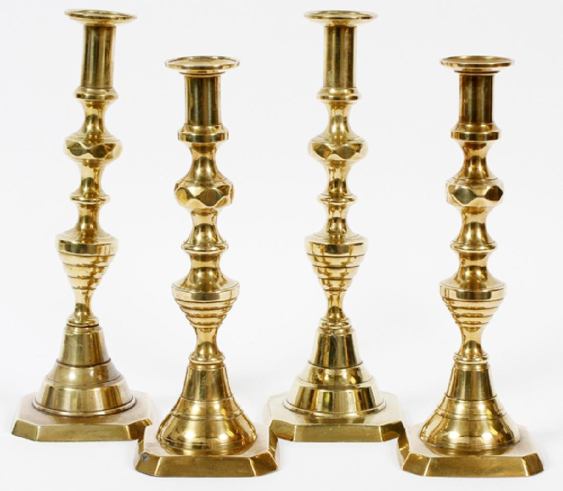 BEE HIVE BRASS CANDLE STICKS 19TH.C. 2 PAIRS