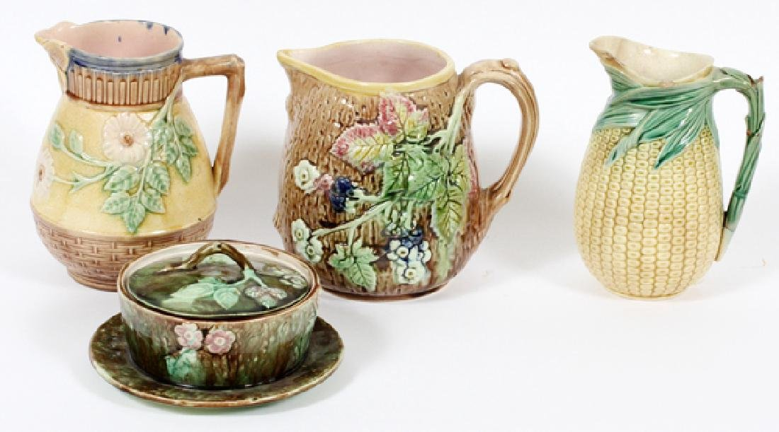 MAJOLICA BUTTER TUB AND TWO WATER PITCHERS 19TH.C.