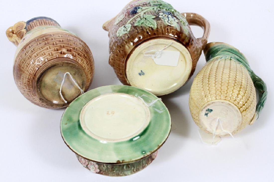 MAJOLICA BUTTER TUB AND TWO WATER PITCHERS 19TH.C. - 3