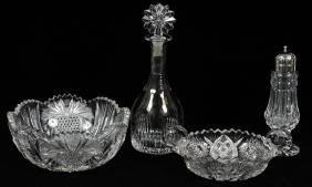 CUT GLASS BOWLS DECANTER ALSO MUFFINEER 4 PCS