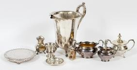 STERLING AND SILVERPLATE TABLEWARE 9 PIECES