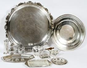 SILVER-PLATE 15 PIECES INCLUDING TRAYS