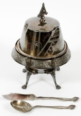 SILVERPLATE COVERED BUTTER DISH KNIFE AND SPOON