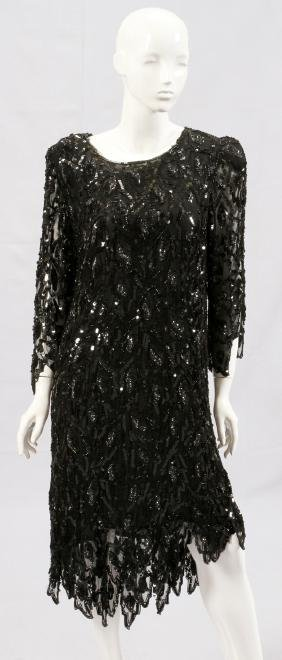 BLACK SILK SEQUIN AND BEADED DRESS