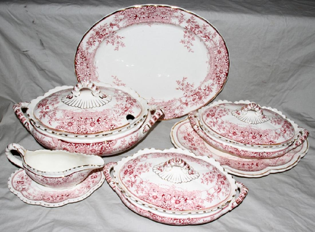 PINK IRONSTONE SOUP TUREEN COVERED PLATTERS SIX