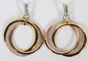 3.8CT DIAMOND AND 14KT GOLD DANGLE HOOP EARRINGS