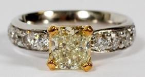 1.2CT YELLOW DIAMOND & 1CT WHITE DIAMOND RING